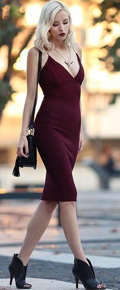 Burgundy Cami Dress Fall Inspo Fall autumn women fashion outfit clothing stylish apparel @roressclothes closet ideas