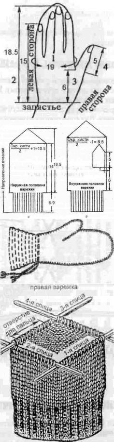Bases of calculations for knitting of mittens // @ ,,, Knitting Help, Cable Knitting, Knitting Stitches, Hand Knitting, Knitted Mittens Pattern, Knit Mittens, Lace Gloves, Knitted Gloves, Crochet Sunflower
