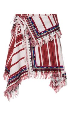 Ecru Embroidered Stripes Raffi Skirt by ISABEL MARANT Now Available on Moda Operandi