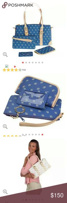 """QVC DOONEY & BOURKE SET DESCRIPTION Get carried away with this signature set. The handbag, wristlet, eyeglass case, and ID holder are all done in a hot-hued logo design with leather trim. From Dooney & Bourke. Includes handbag, wristlet, eyeglass case, and ID holder Handbag exterior: adjustable double handles; removable, adjustable shoulder strap; six bottom feet Handbag interior: lined, zip pocket, cell phone pocket, dog leash for keys Handbag measures 13-1/2""""L x 7""""H x 4-3/4""""D with 8""""L to…"""