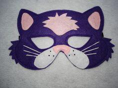 Children's PURPLE CAT Farm Animal Felt Mask Brown por magicalattic, $12.50