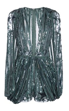 This **Elie Saab** jumpsuit features a plunging V-neckline, hand-beaded and embroidered detailing throughout, and a slit design on the sleeves.