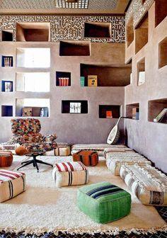 Fellah Hotel - AD magazine July-August 2012 - Photos by Matthieu design and decoration ideas interior design interior design design Interior Architecture, Interior And Exterior, Living Room Decor, Living Spaces, Tadelakt, Futons, Moroccan Decor, Modern Moroccan, Modern Boho