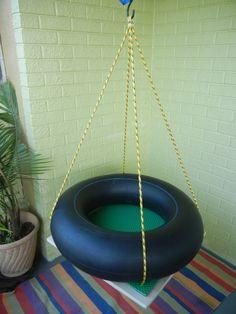 """Special needs platform tire swing small 24"""" x 24"""" PT OT sensory autism"""