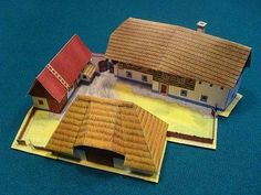 Here is a paper model of an ancient Czech farm, in HO scale, by designer Richard Vyskovsky.