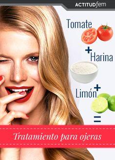 2 cucharadas de jugo de tomate (natural) + 5 gotas de jugo de limón + ½ cucharada de harina de trigo= Tratamiento anti-ojeras