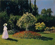 """Femme en Blanc au Jardin"". ""Mulher de Branco no Jardim"". (1867). (by Claude Monet)."
