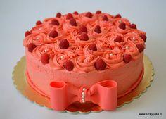 Tort Rose Lucky Cake, Cream Cheese Frosting, Hamburger, Bacon, Deserts, Cakes, Sweet, Cake Makers, Kuchen