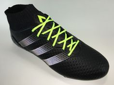 SR4U Reflective Neon Yellow Soccer Laces on adidas Ace 16.1 Primeknit Dark Space Pack