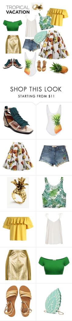 """""""Tropical vacation: pineapple madness!!!"""" by pollyguacamole on Polyvore featuring ONIA, Hollister Co., Ann Taylor, Chicwish, Topshop, Billabong, tropical, fashionset and TropicalVacation"""