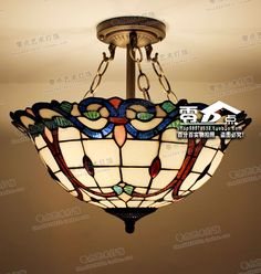195.00$  Buy here - Tiffany lamps Diameter of 40cm European style colorful glass bedroom Restaurant Bar study hall Baroque hanging lamps  #aliexpressideas