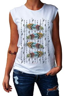 Women's T-Shirt FLUFFY FEATHERS - 100% Made in Italy - 100% Cotton - BOHO COLLECTION http://www.doubleexcess.com/