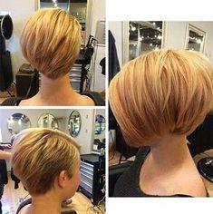 Asymmetrical Short Bob Haircut Stacked Bob Hairstyles, Bob Cut, Haircut For Thick Hair, Short Hair Cuts, Cute, Hair Styles, Fashion, Hairdos, Hair Plait Styles