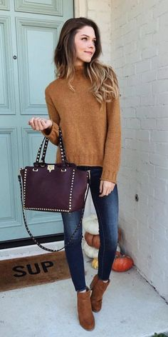 #winter #outfits women's brown sweater and blue denim jeans. Click To Shop This Look.