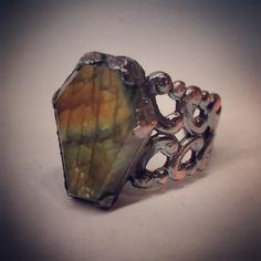 Adjustable Electroformed Labradorite Coffin Ring