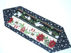 Christrmas table runner doves pointsettas holly by sewinggranny, $18.00 #holiday #home decor #tablerunner