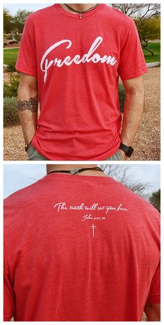 """Freedom"" - A vintage red tri-blend Christian shirt for men Inspired by 1 Chronicles 29:11 ~ An ultra-soft shirt that is stylish, fashionable and athletically cut. A fantastic Christian gift idea for men. Freedom on the front and ""The truth will set you free"" on the back"