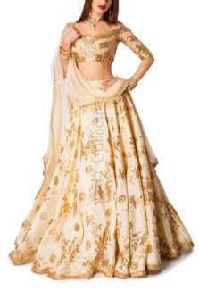 Ivory Lehenga with Dome Sequins