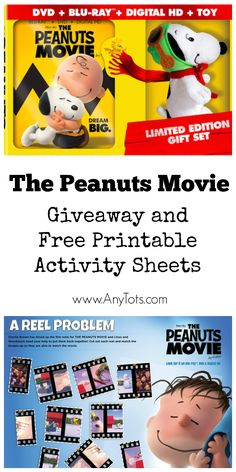 The Peanuts Movie Limited Edition Gift Set Giveaway. Included The Peanuts Movie Blu-ray, DVD, and a Toy. Plus Print Free Printable The Peanuts Movie Activity Sheets. www.anytots.com