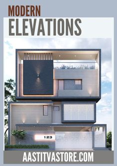 Interior Design Layout, Exterior Design, Facade Design, Facade Architecture, Contemporary Architecture, Building Elevation, Front Elevation, Narrow House Plans, Building A New Home