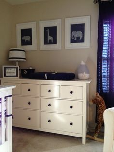 Navy and white with tan walls. No babies on the way, but I love this for my bedroom redo this year!!!