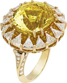 Van Cleef & Arpels ~ One-of-a-kind Peau d'Ane Happy Marriage collection Solar ring in yellow gold with a central 16ct cushion-cut yellow sapphire, round and trillion-cut diamands and round yellow sapphires.