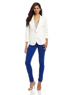 Calvin Klein Jeans Womens Mixed Media Blazer $80