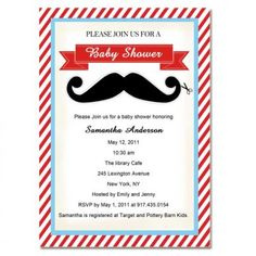 Lovely and adorable mustache baby boy shower invitations bs163