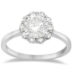 Allurez - Women's Original Floral Halo Prong Engagment Ring Setting Platinum (0.20ct)
