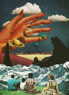 Ayham Jabr — Her the sun. Surreal Mixed Media Collage Art By.