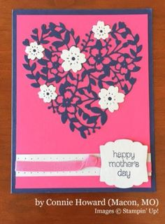 handmde Mother's Day card by Connie Howard .... navy, hot pink and white ... like the layout ... die cut lacy heart focal poing ... Stampin' Up!