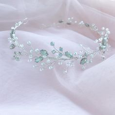 Wedding White Opal Headpiece for Bride with Pearl and Crystals, Silver Bridal Halo, Rhinestone Hair Piece Bridal Tiara, Bridal Headpieces, Headpieces For Brides, Cute Jewelry, Hair Jewelry, Wedding Jewelry, Jewlery, Glamouröse Outfits, Crown Aesthetic