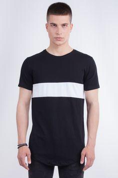 Longline Black T-Shirt In White Stripe