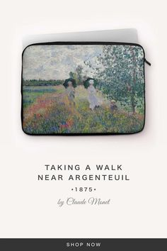 """""""Taking a Walk near Argenteuil"""" by Claude Monet Claude Monet, 7 And 7, Back To Black, Laptop Sleeves, Snug, Walking, Take That, Fabric, Tejido"""