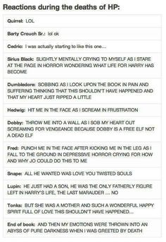 Different deaths in Harry potter