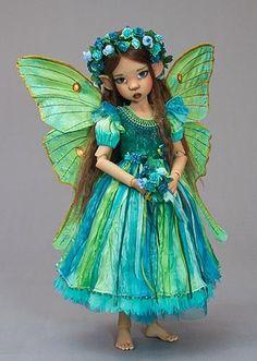 Miki doll by Kaye Wiggs in a Luna Moth Fairy costume custom made by Martha Boers.
