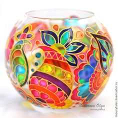 Hand painted glass Glass, Etsy and Paintings Glass Painting Patterns, Glass Painting Designs, Stained Glass Patterns, Glass Bottle Crafts, Bottle Art, Stained Glass Paint, Jar Art, Painted Wine Bottles, Sea Glass Art