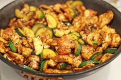 Panda Express Zucchini and Mushroom in just 20 minutes! You'll be sitting down to dinner faster than you could drive there and pick some up and come home! Lightly sauteed zucchini and mushrooms in a soy ginger and garlic sauce with a splash of vinegar. Mushroom Zucchini Recipe, Mushroom Recipes, Sauteed Zucchini Recipes, Mushroom Pasta, Vegetarian Recipes, Cooking Recipes, Healthy Recipes, Lentil Recipes, Bariatric Recipes
