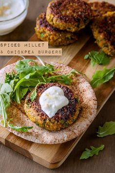 Spiced millet and chickpea burgers with preserved lemon yoghurt   DeliciousEveryday.com #vegetarian