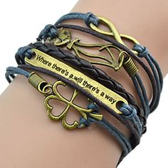 shixin® europeu tag 18 centímetros pulseira azul ID de couro das mulheres (1 pc) – BRL R$ 10,23