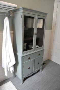 ugly tv armoire to vintage looking linen cabinet Bathroom Furniture Storage, Pretty Bathrooms, Bathroom Armoire, Bathroom Inspiration, Trendy Bathroom, Bathrooms Remodel, Storage Furniture, House, Bathroom Storage