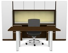 This modern executive office furniture configuration features white accents and a luxurious writing table. #ModernOfficeFurniture