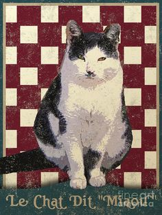 Vintage French Posters   Vintage French Bistro Cat Digital Art - Vintage French Bistro Cat Fine ...