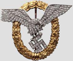 Flugzeugführer- und Beobachterabzeichen in Gold mit Brillanten