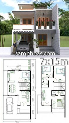 Home Design Plan with 4 Bedrooms - SamPhoas Plansearch Office houses design plans exterior design exterior design houses home architecture house design houses Duplex House Design, Duplex House Plans, House Front Design, Small House Design, Dream House Plans, Small House Plans, Modern House Design, House Floor Plans, Tiny Home Floor Plans