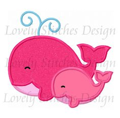 Two Whales Applique Machine Embroidery por LovelyStitchesDesign