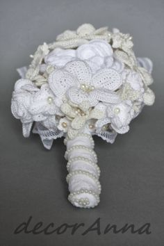 Ivory crochet wedding bouquet. Visit my etsy shop: https://www.etsy.com/listing/176086935/wedding-eco-bouquet-ivory-flowers?ref=shop_home_active_2