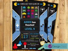 VIDEO Game Birthday Party invitation.  ARCADE Game Birthday Invitation. Printable Digital.  #K1060 by ByDesignDen on Etsy https://www.etsy.com/listing/247230336/video-game-birthday-party-invitation