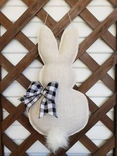 decorations for the home display Buffalo Plaid Bunny Door Hanger, easter decorations, Easter Bunny, door decor Bunny Crafts, Easter Crafts, Diy Crafts, Easter Decor, Easter Bunny Decorations, Fun Look, Burlap Fabric, Spring Crafts, Holiday Crafts