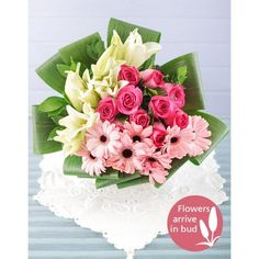 Buy or Send bouquet of roses, lilies, gerberas and aspidistra styled into three sections. A must have gift for anyone who has been on a life-changing journey or who is in need of some inspiration in South Africa. Gerbera Bouquet, Lily Bouquet, Daisies Bouquet, Silk Floral Arrangements, Beautiful Flower Arrangements, Gerbera Wedding, Wedding Flowers, Anniversary Flowers, Hot Pink Roses